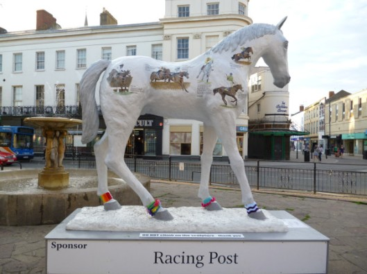 Cheltenham horse yarn bomb