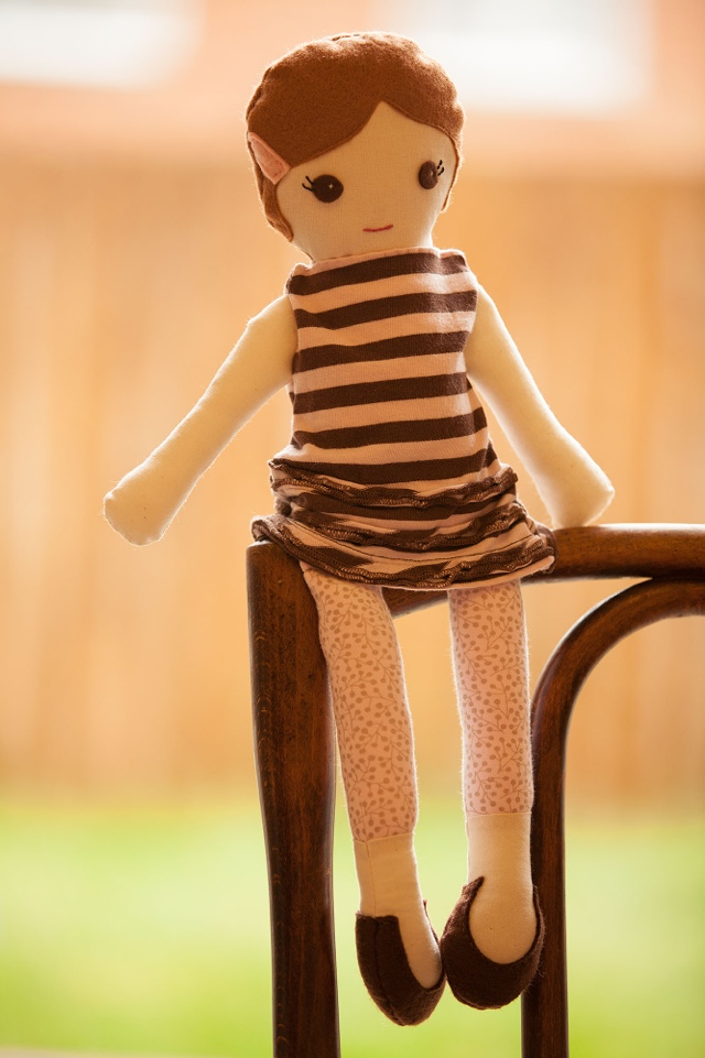 Handmade doll made with baby clothes