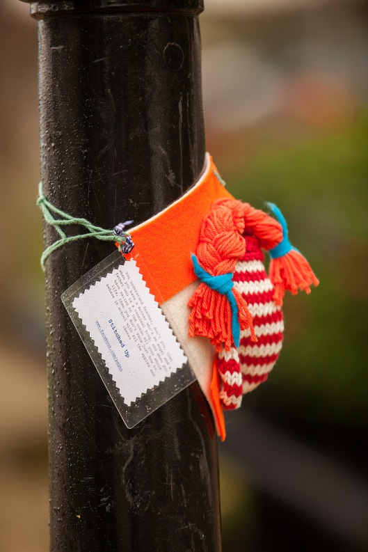 Pippi Longstocking yarn bomb