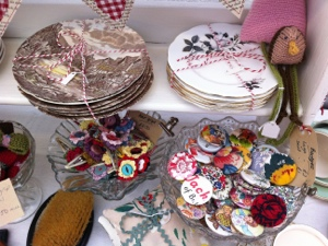 Pretty plates, homemade badges and hair clips
