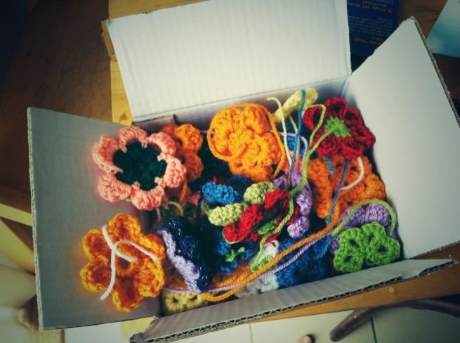 Donated crochet flowers